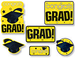 Yellow Graduation Cutouts Value Pack