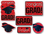 Red Graduation Cutouts Value Pack
