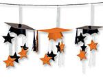 Orange Graduation Caps 3-D Garland