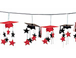Red/Black Graduation Caps 3-D Garland
