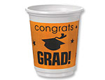 Orange Graduation 12oz. Plastic Cups