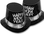Black and Silver New Year Top Hats