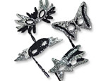 Black & Silver Sequin Mask/Stick Assorted