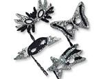 Black & Silver Sequin Mask/Stick Assorted