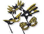 Black & Gold Sequin Mask/Stick Assorted