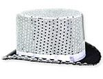 Silver Sequin Top Hat