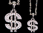 Jeweled Dollar Bling Necklace