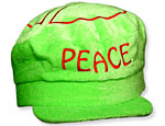 Green Velour Peace Cap