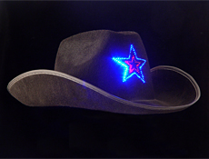 4funparties Com Black Led Cowboy Hat Flashing Star