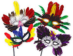 Feather Mask on Stick