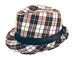 Black/White/Red Plaid Fedora Hat