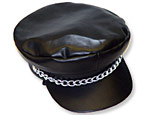 Vinyl Black Biker Hat with Chain