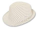 White Pinstripe Fedora Hat