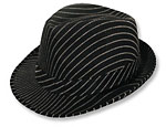 Black Pinstripe Fedora Hat