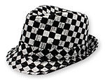 Black/Silver Check Fedora Hat