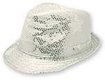 Silver Sequin Star Fedora Hat