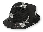 Black Sequin Star Fedora Hat