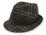Brown Check Fedora Hat