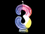 Rainbow Number Candle 3