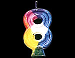 Rainbow Number Candle 8