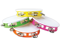 Small Imprinted White Top Tambourines