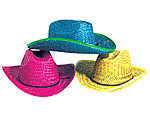 Assorted Straw Neon Cowboy Hats