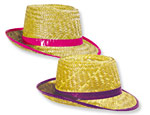 Neon Color Straw Fedoras