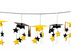 Yellow/Black Graduation Caps 3-D Garland