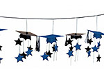 Blue/Black Graduation Caps 3-D Garland