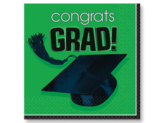 Green Graduation Beverage Napkins