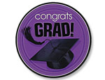 Purple Graduation 7 inch Dessert Plates