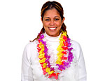 36 inch Solid Silk Flower Leis Assorted