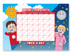 Brushing Chart Dry Erase Board with Marker