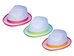White Fedoras with Neon Trim