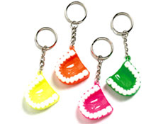 "1.5"" Neon Tooth Keychain Assorted"