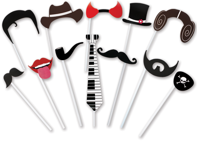 4funparties com photo booth props on a stick
