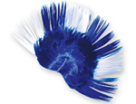 Blue & White Mohawk Wig