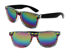 S70766 - Tribal Print Sunglasses With Mirrored Lenses