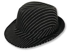 12fe57a3ca 4FunParties.com - Black Pinstripe Fedora Hat
