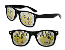 WP1307 - Winky Face Emoji Pinhole Glasses
